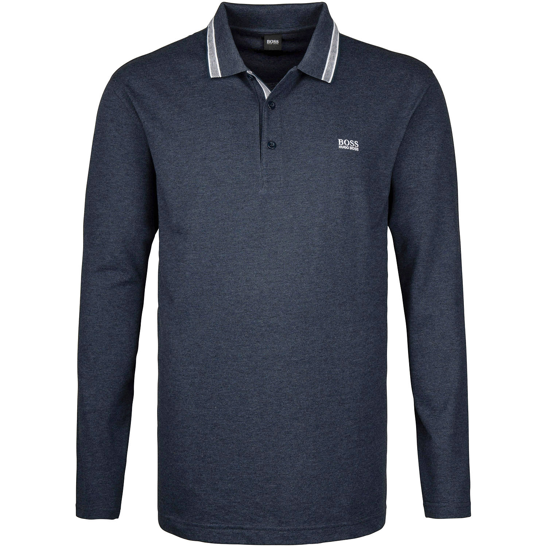 designer fashion 43f70 7d74c BOSS langarm Poloshirt blau-meliert