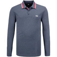 BOSS langarm Poloshirt blau-meliert