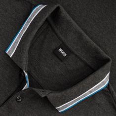 BOSS langarm Poloshirt grau-meliert