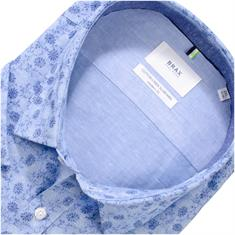 BRAX halbarm Freizeithemd hellblau