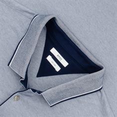 BRAX langarm Poloshirt blau-meliert
