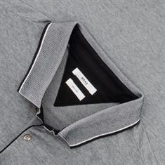 BRAX langarm Poloshirt schwarz-meliert