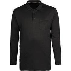BRAX langarm Poloshirt schwarz