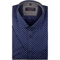 CASAMODA halbarm Freizeithemd dunkelblau