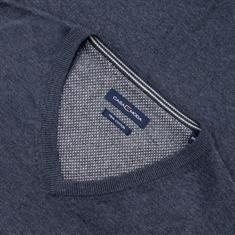 CASAMODA V-Pullover blau-meliert