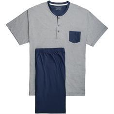 CECEBA halbarm Schlafanzug blau-meliert