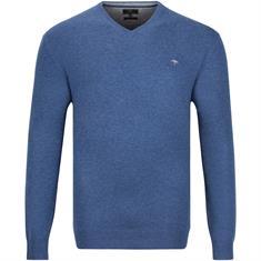 FYNCH HATTON V-Pullover blau-meliert