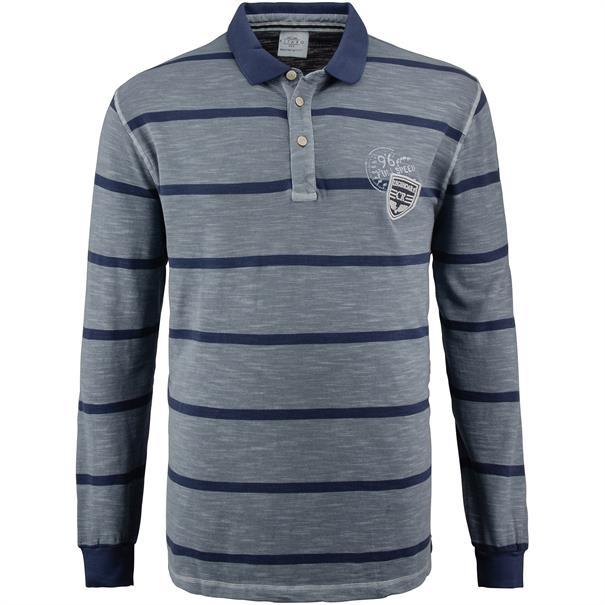 KITARO langarm Poloshirt blau-meliert