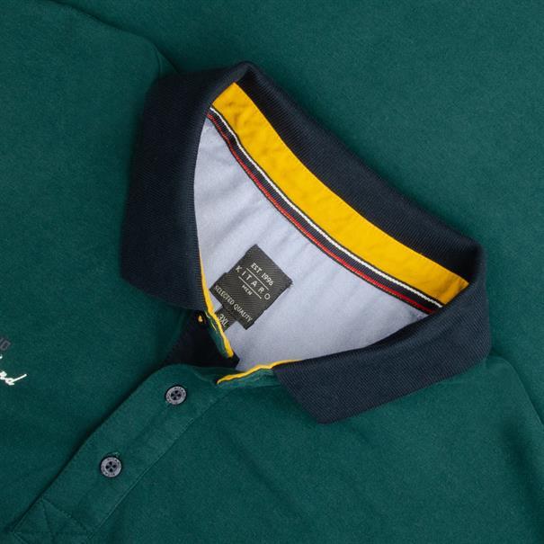 KITARO langarm Poloshirt grün