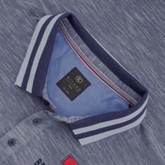 KITARO Poloshirt blau-meliert