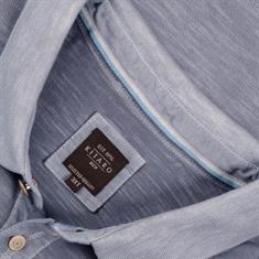 KITARO Poloshirt - EXTRA lang blau-meliert