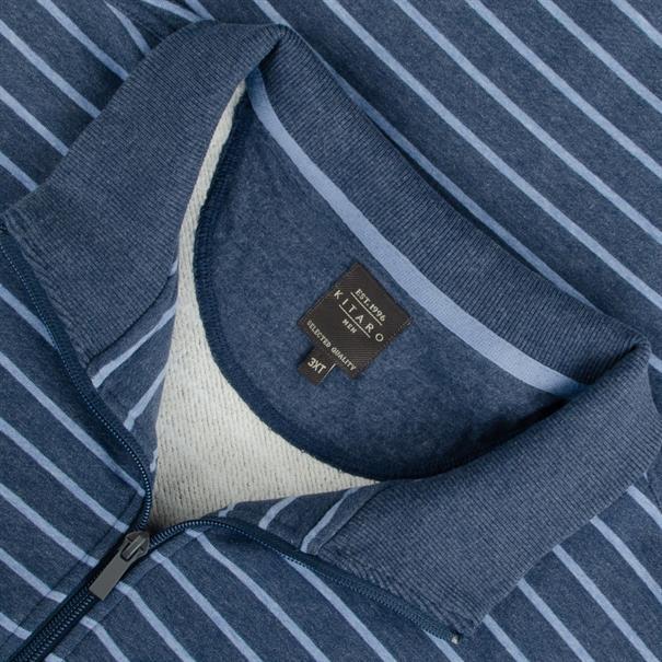 KITARO Sweatshirt - EXTRA lang blau-meliert