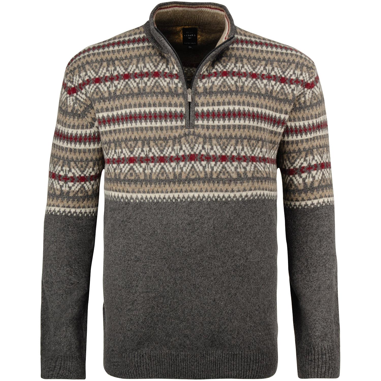 KITARO Zipper Pullover grau meliert