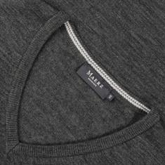 MAERZ V-Pullover in EXTRA LANG grau-meliert