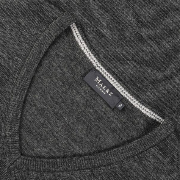 MAERZ V-Pullover in EXTRA LANG grau-meliert