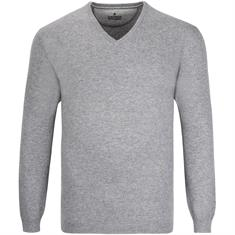 RAGMAN Kaschmir V-Pullover grau-meliert