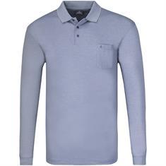 RAGMAN langarm Poloshirt blau-meliert
