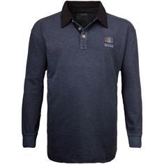 REDFIELD langarm Poloshirt blau-meliert