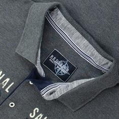 REDFIELD langarm Poloshirt grau-meliert
