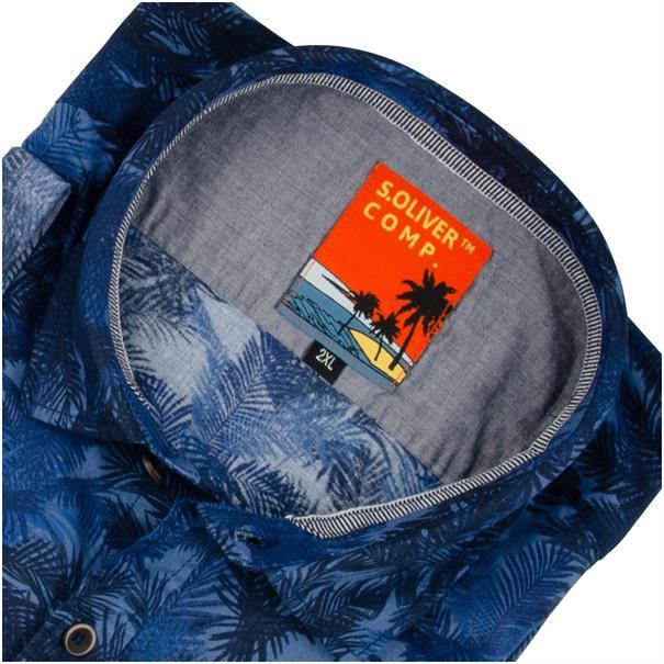 S.OLIVER halbarm Freizeithemd blau