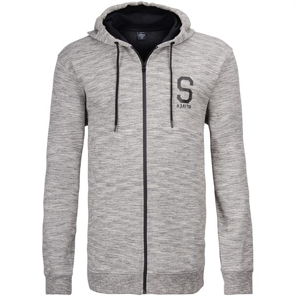 S.OLIVER Sweatjacke - EXTRA lang grau-meliert