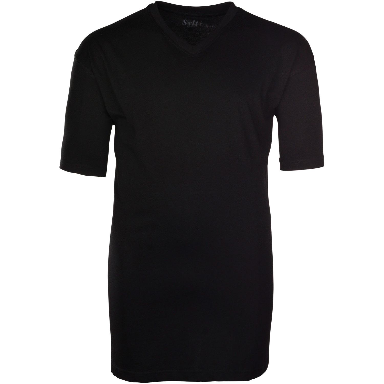 newest 62a02 740df SYLT Basic T-Shirt V-Ausschnitt schwarz