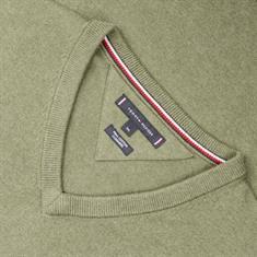 TOMMY HILFIGER V-Pullover grün-meliert